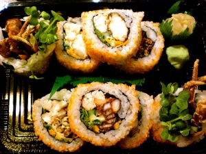 spider roll with fresh crab and soft shell crab!