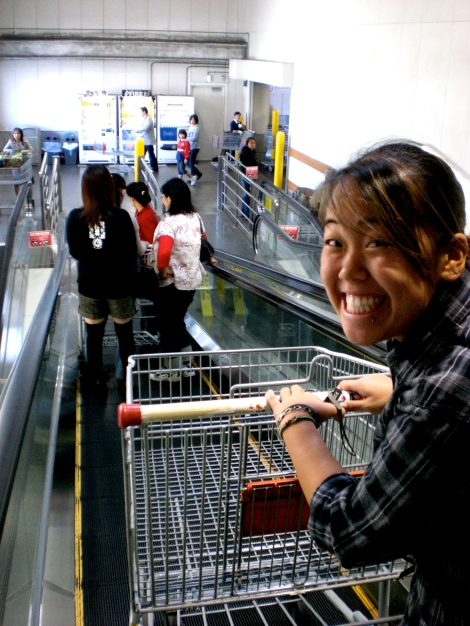 first time seeing shopping carts in Japan (rather than baskets)