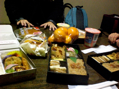 our dinner at the end of the night - a few bento boxes we bought at the station, as well as oranges and various snacks we bought at 7eleven. mmm.