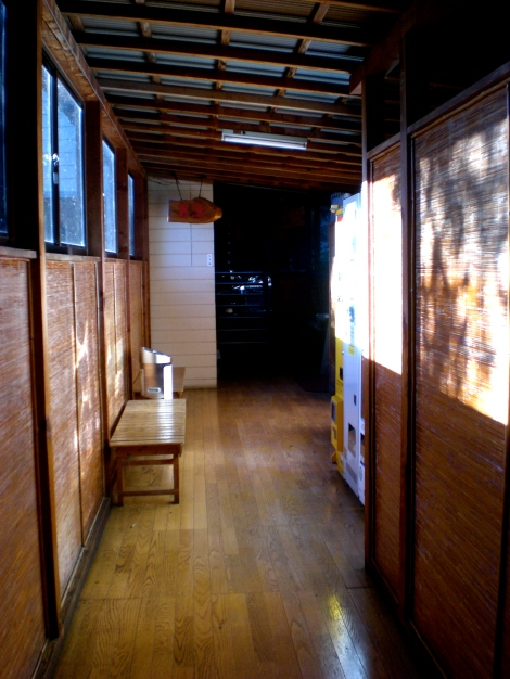 the hallway to the hot spring (温泉)at our inn