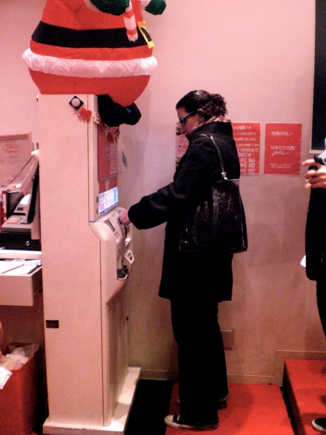You buy a ticket from this machine - 1480yen for 90 minutes of eating