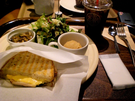 grilled sandwich, salad, mushroom side, scoop of gelato, coffee