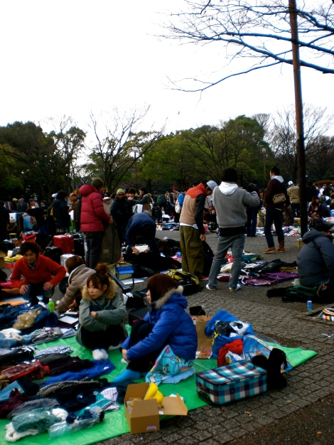 Open-air thrift-market in Yoyogi Park on the weekends.