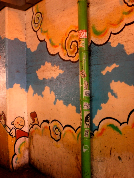 A mural under an overpass in Shin-Okubo