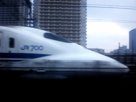 a passing shinkansen --bullet train