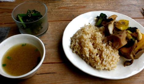 seaweed sidedish, miso soup, and brown rice with roasted vegetables and cashews