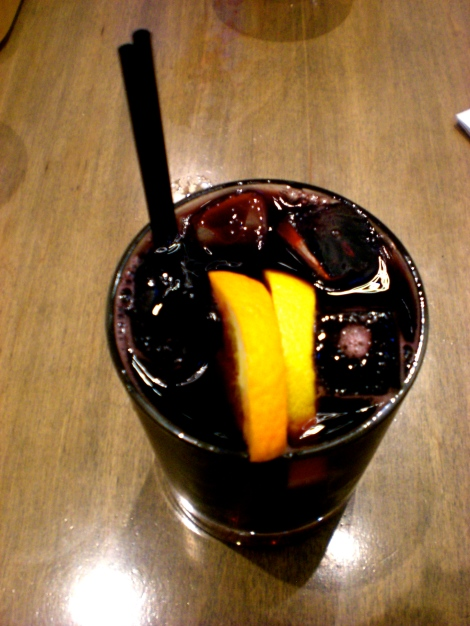 Red wine and coca cola with orange & lemon wedge - who would have thought?