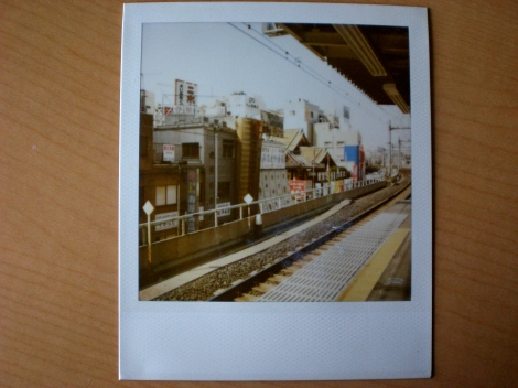 A platform at Okachimachi Station. Can you see that whitish smudge? Some of the developer (or something?) leaked out of the polaroid!