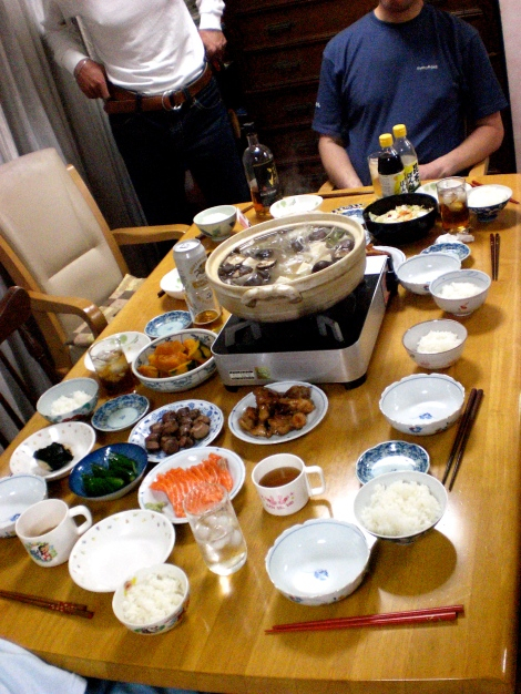 Some of the other things on the table are: Kabocha (pumpkin), tsukemono (picked vegetables), sauteed chicken, salmon sashimi, etc. etc.