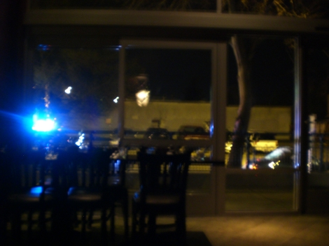 A cop pulled someone over right outside of Dilettante's, where we were having chocolate martinis.