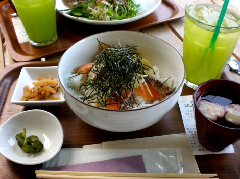 My meal - salmon donburi with soup and iced sencha green tea