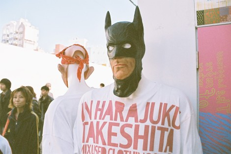 Batman in Harajuku Takeshita St.  - outside of WE GO new & used clothing.