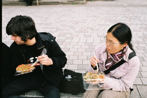 Sunny & Ricarda eating yakisoba and okonomiyaki...mmmm