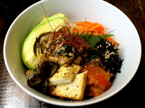 The natto donburi - served in a sort of Korean bibimbap style.
