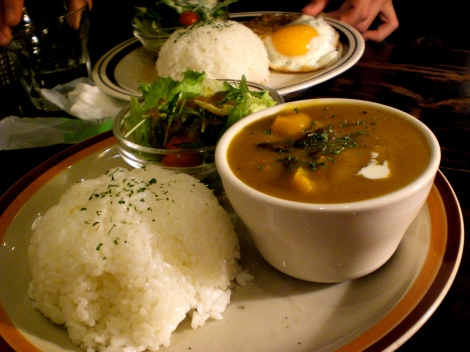 Kabocha curry with rice and salad. Just a little bit sweet..mmm