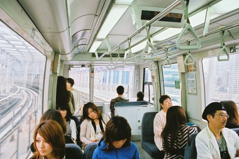 On the Yurikamome line sky train - one of my favorite lines in Tokyo.