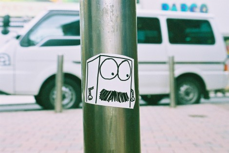 Mustache Box sticker, Shibuya