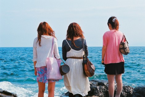 These girls were so funny, standing near the water in their heels, so shocked when it spashed them.
